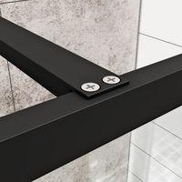 ELEGANT 900mm Walk in Shower Door Wet Room Reversible Shower Screen Panel 8mm Safety Glass with 1000mm Support Bar Matte Black Walkin Shower Screen with 1600x800mm Shower Tray