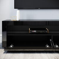 ELEGANT Modern Black Gloss TV Unit Stand 1200mm with LED Ambient Light for Living Room and Bedroom with Storage Furniture for 32 40 43 50 52 inch 4k TV