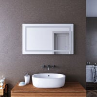 ELEGANT 1000x600mm Illuminated LED Bathroom Mirror Lights Curved Edge Design Backlit Shaver Socket Bath Vanity Wall Mounted Mirrors with Touch Switch Heated Demister Pad