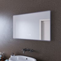 ELEGANT Bathroom Mirror with Clock Temperature Display Three Color Mode 1000 x 600mm Anti-foggy LED Illuminated Mirror