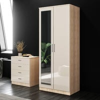 ELEGANT 2 Doors Wardrobe with Mirror, Soft Close Hinge Mirrored Wardrobe Cabinet, High Gloss Bedroom Furniture Set with Hanging Rod and Storage Shelves, Cream/oak