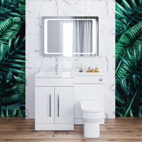 ELEGANT 1100mm L Shape Bathroom Vanity Sink Unit Storage,Left Hand High Gloss White Vanity unit + Basin + Ceramic Square Toilet with Concealed Cistern + toilet brush