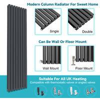 1800x480mm Anthracite Vertical Oval Column Radiator Single Panel Designer Radiators + Angled Radiator Valves