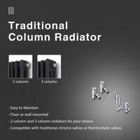 ELEGANT Traditional Radiator Anthracite Triple Horizontal Cast Iron Grey Radiator - Perfect for Kithcen, Living Room, Bathroom Radiators 3 Column 600 x 605 mm + Angled Radiator Valves