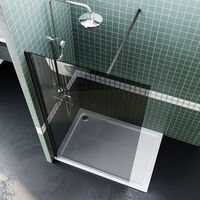 ELEGANT Frameless Wet Room Shower Screen Panel 8mm Easy Clean Glass Walk in Shower Enclosure 760mm Grey + Black Frame