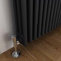 ELEGANT Traditional Radiator Anthracite Triple Horizontal Cast Iron Grey Radiator - Perfect for Kithcen, Living Room, Bathroom Radiators 3 Column 600 x 1190 mm+ Thermostatic Radiator Valves