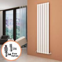 1800 x 452 mm White Vertical Column Radiator Single Flat Panel Designer Bathroom Radiator + Chrome Thermostatic Radiator Valves