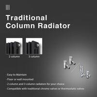 ELEGANT Traditional Radiator Anthracite Triple Horizontal Cast Iron Grey Radiator - Perfect for Kithcen, Living Room, Bathroom Radiators 3 Column 600 x 1190 mm + Chrome Thermostatic Radiator Valves