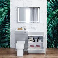 ELEGANT 1100mm Bathroom Vanity Sink Unit Furniture Storage,Right Hand Matte Grey Vanity unit + Basin + Ceramic Square Toilet with Concealed Cistern + toilet brush