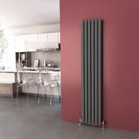 1800 x 360 mm Anthracite Modern Vertical Column Radiator Oval Double Panel Designer Heater + Chrome Thermostatic Radiator Valves