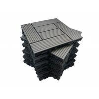 Dalles de terrasse x5 clipsables Bois Composite Gris IDMarket
