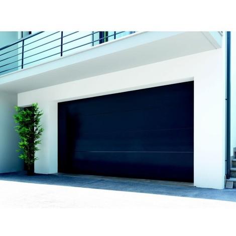 Porte de garage sectionnelle motorisée finition anthracite avec 4 panneaux lisses