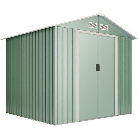 Caseta de metal Wasabi Light Green M 4,2m2 - Garantía 10 años - 215x195x190 cm. Cobertizo jardin