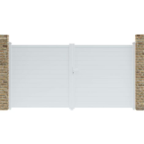 Portón jardín aluminio Eric - 349.5 x 180.9 cm - Blanco