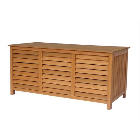 Baúl para jardin en madera Macao - 130 x 64 x 60 cm - Marron