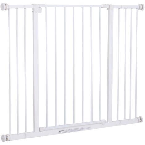 Barrière de sécurité longueur réglable dim. 72-107l x 76H cm sans perçage métal plastique blanc - Blanc