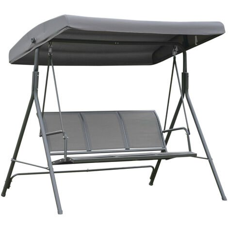Balancelle de jardin 3 places grand confort toit inclinaison réglable assise et dossier ergonomique acier textilène gris - Gris