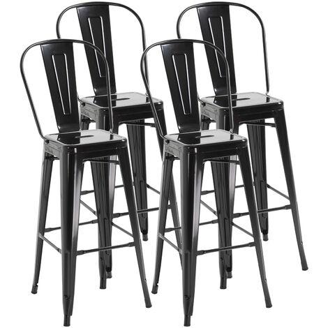 Lot de 4 tabourets de bar industriel avec dossier hauteur assise 76,5 cm métal noir - Noir