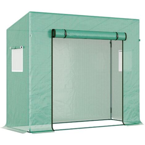 Serre de Jardin 200L x 77l x 170H cm acier PE haute densité 140 g/m² anti-UV avec porte zippée déroulante et fenêtres vert - Vert