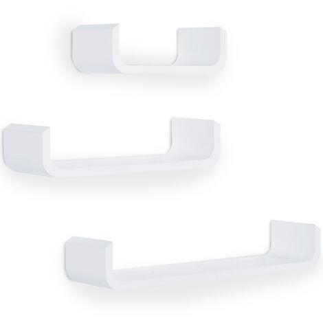 Lot de 3 étagères murales flottantes design contemporain courbé kit fixation inclus MDF blanc - Blanc