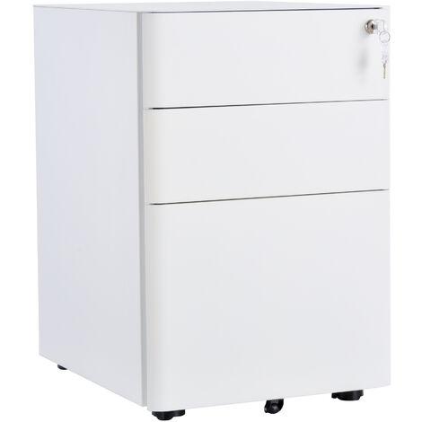 Caisson de bureau rangement bureau sur roulettes 3 tiroirs coulissants verrouillables trieur à dossiers dim. 39L x 48I x 59H cm acier blanc - Blanc