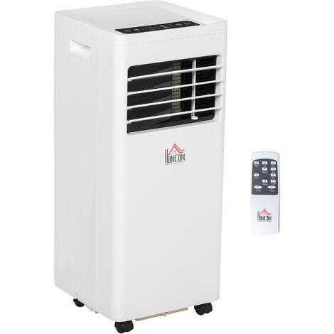 Climatiseur portable 8.000 BTU/h 860 W - ventilateur, déshumidificateur - réfrigérant naturel R290 - télécommande - débit d'air 300 m³/h - blanc - Blanc