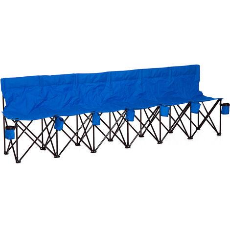 Banc de jardin pliable banc de camping pliant portable 6 places dim. 2,65L x 0,48l x 0,80H m métal époxy oxford bleu - Bleu