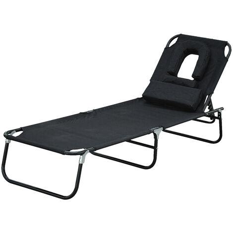 Transat de jardin chaise longue pliante bain de soleil pour lecture noir - Noir