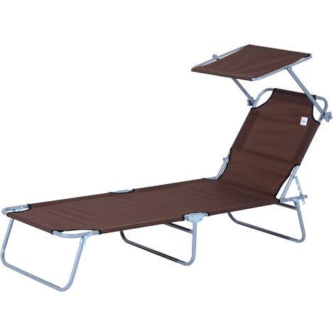 Transat bain de soleil pliable grand confort dossier et pare-soleil réglable multi-positions chocolat - Marron