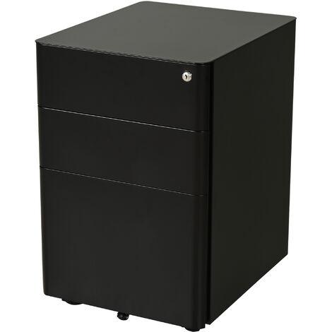 Caisson de bureau rangement bureau sur roulettes 3 tiroirs coulissants verrouillables trieur à dossiers dim. 39L x 48I x 59H cm acier noir - Noir