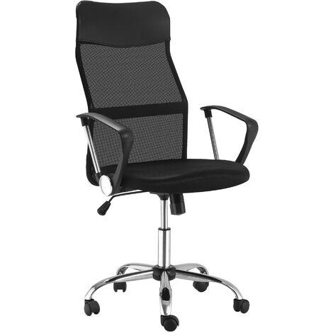 Fauteuil de bureau manager grand confort dossier ergonomique hauteur assise réglable pivotant tissu maille noir - Noir