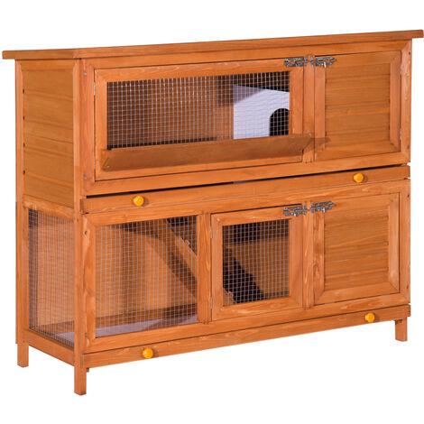 Cage a lapin poulailler clapier en bois de pin de grande taille avec 2 etages 120x48x100 cm - Marron