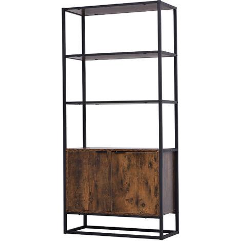 Bibliothèque style industriel 3 étagères + placard 2 portes panneaux particules aspect vieux bois métal noir - Marron