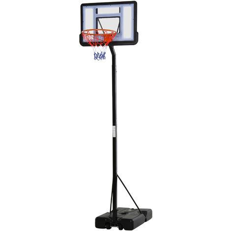 Panier de basket-ball sur Pied avec base de lestage sur roulettes hauteur réglable 1,94-2,49 m noir blanc - Noir