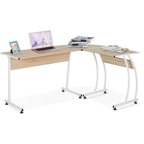 Bureau informatique multimédia bureau d'angle design contemporain métal blanc imitation bois chêne clair - Beige
