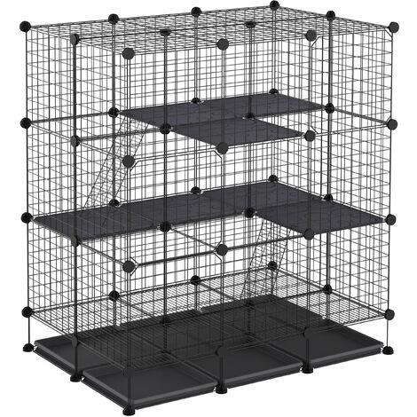 Cage parc enclos rongeurs modulable dim. L 111 x l 75 x H 119 cm 3 niveaux 4 portes fil métallique noir - Noir