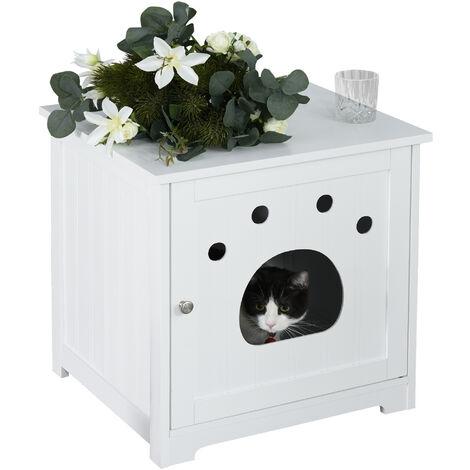 Maison de toilette pour chat design porte entrée patte chat 2 MDF blanc - Blanc
