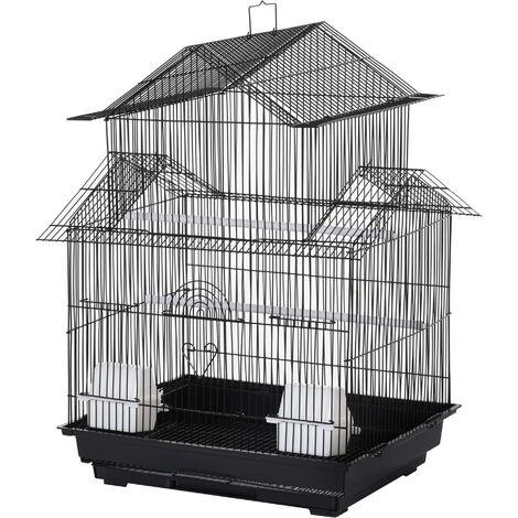 Cage à oiseaux design maison mangeoires perchoirs 3 portes plateau excrément amovible + poignée transport noir - Noir