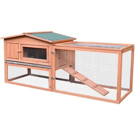 Clapier cage à lapins rongeurs 2 étages tiroir déjection enclos extérieur amovible toit ouvrant 158L x 58l x 68H cm bois massif pin - Marron