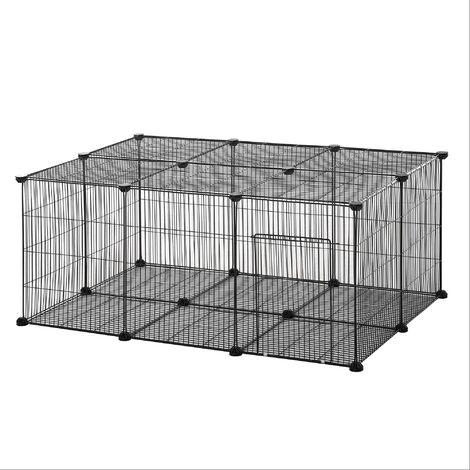 Cage parc enclos rongeurs modulable dim. L 105 x l 70 x H 45 cm 1 porte fil métallique noir - noir