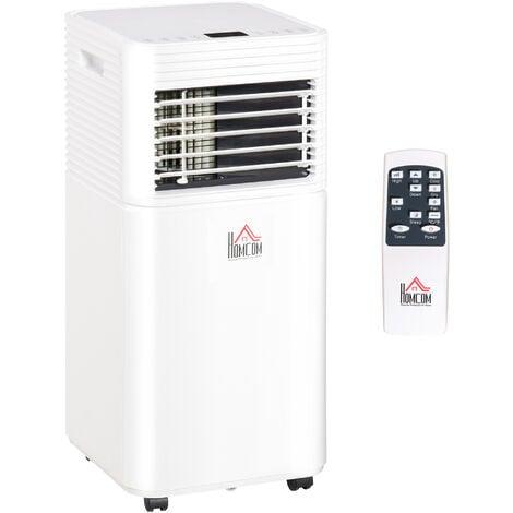Climatiseur portable 9.000 BTU/h - ventilateur, déshumidificateur - réfrigérant naturel R290 - télécommande - débit d'air 360 m³/h - blanc - Blanc