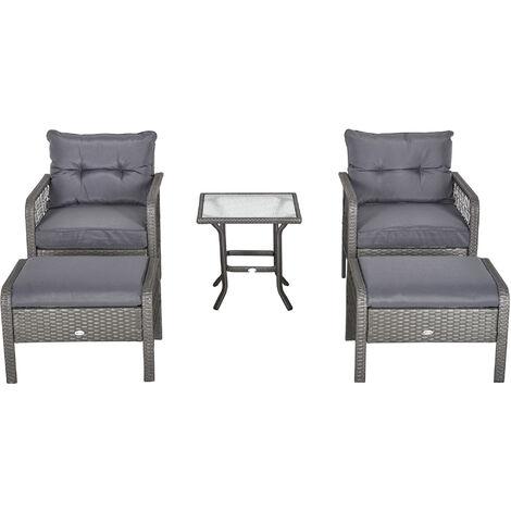 Lot de 2 fauteuils de jardin grand confort repose-pied table basse résine tressée et filaire imitation rotin coussins gris - Gris