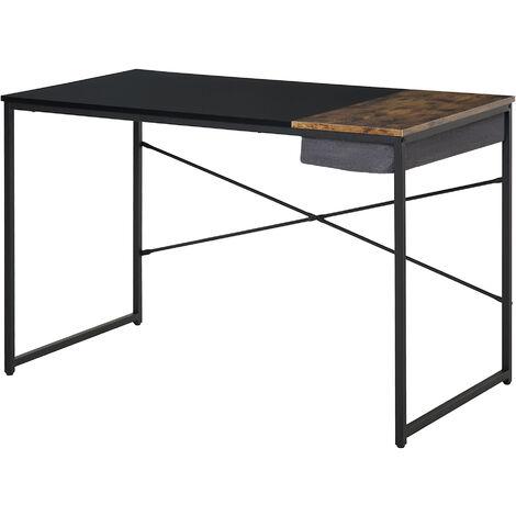 Bureau design industriel rangement intégré châssis métal noir grand plateau MDF bicolore noir et boisé - Noir