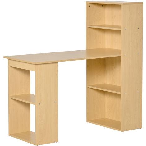 Bureau informatique 120L x 55l x 120H cm bibliothèque adjacente multi-rangements bois naturel - Bois naturel