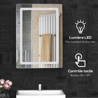 Miroir lumineux LED de salle de bain 32 W dim. 50 x 4 x 70 cm - Blanc