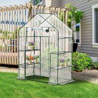Serre de Jardin 143L x 73l x 195H cm 4 tablettes acier PE haute densité 140 g/m² anti-UV avec porte déroulante transparent vert - Transparent