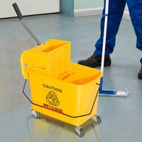 Chariot de nettoyage lavage seau de ménage 20 L avec essoreur et séparateur eau sale propre jaune 60L x 27l x 71H cm - Jaune