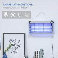 Lampe UV anti-insectes anti moustique tue mouche électrique destructeur d'insectes 30 W noir gris - Noir