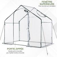 Serre de jardin balcon terrasse serre pour tomates 1,8L x 1,05l x 1,5H m acier PVC imperméable transparent vert - Transparent