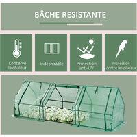 Mini serre de jardin 270L x 90l x 90H cm acier PE haute densité 140 g/m² anti-UV 3 fenêtres avec zip enroulables vert - Vert